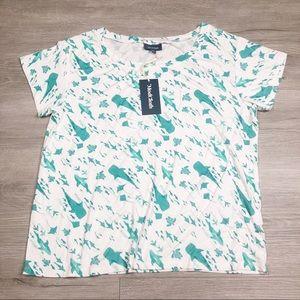ModCloth White Teal Marine Life Sharks Shirt